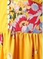 Free People V Yaka Çiçekli Uzun Elbise Sarı